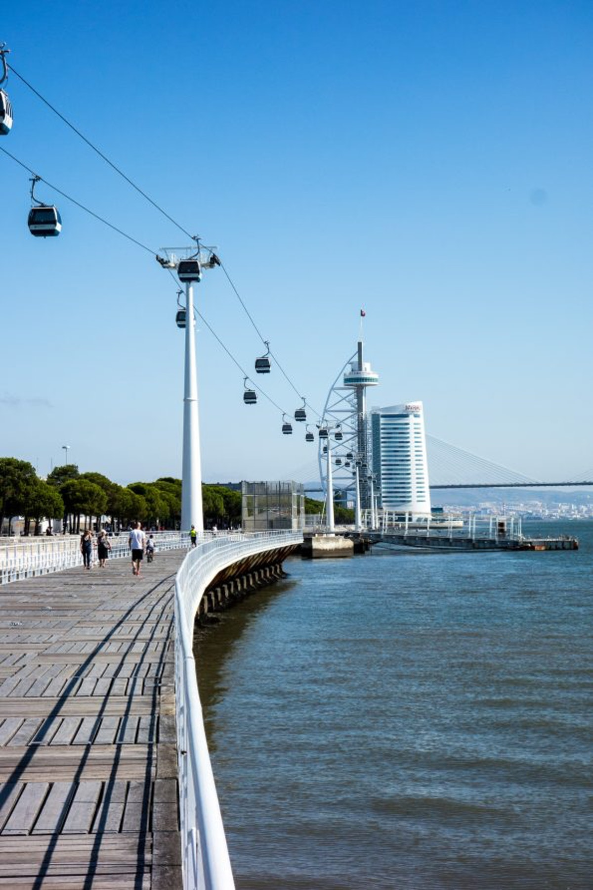 The boardwalk and cable car leading to the sail-shaped Vasco da Gama Tower