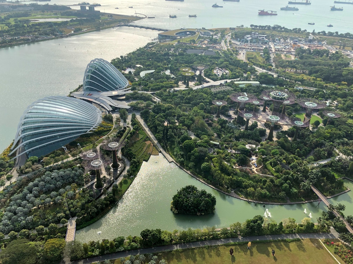 View of Gardens by the bay from Marina Bay Sands's rooftop