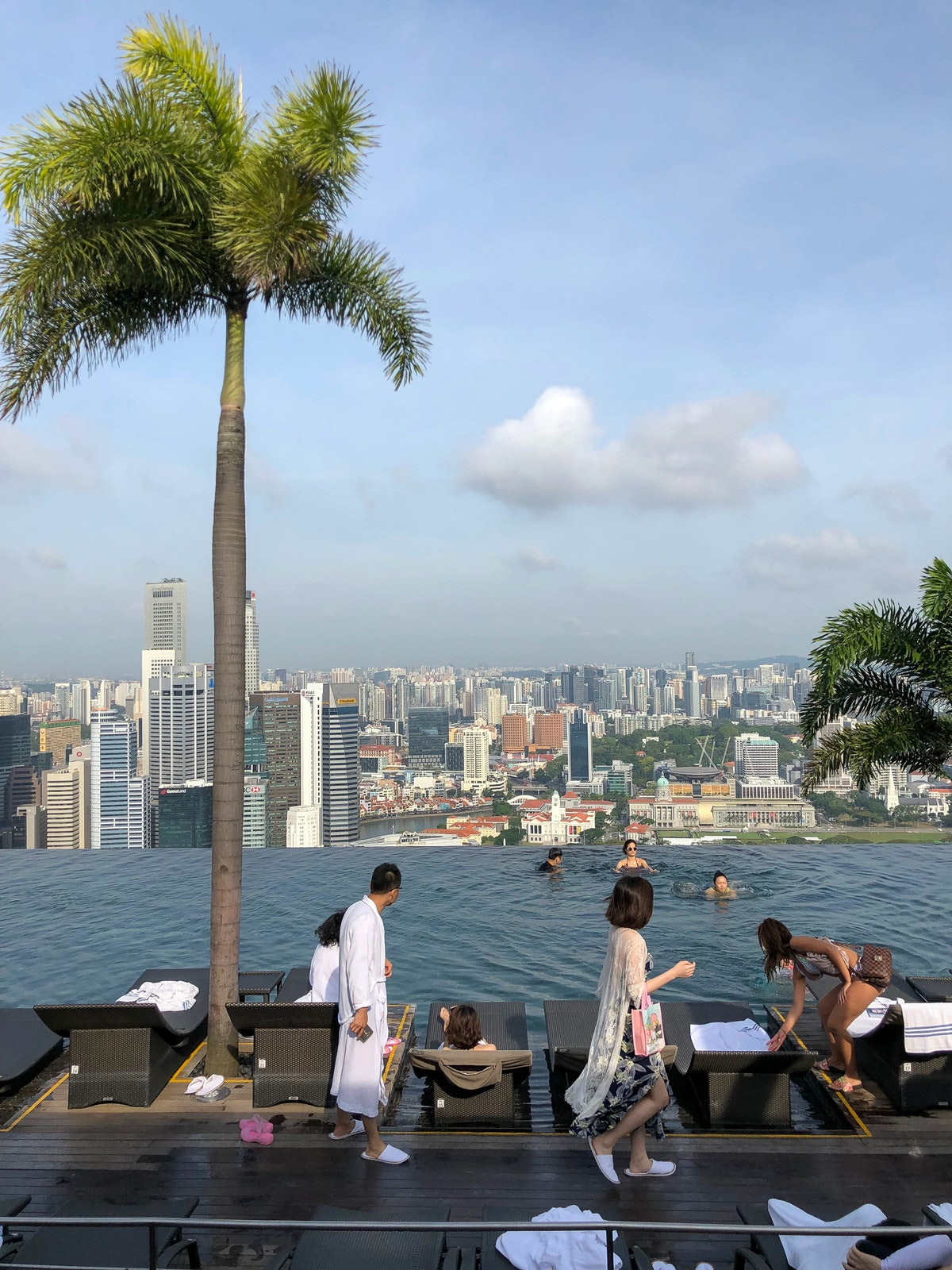 The swimming pool on top of the Marina Bay Sands in Singapore