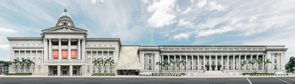 The full elevation of the National Gallery Singapore