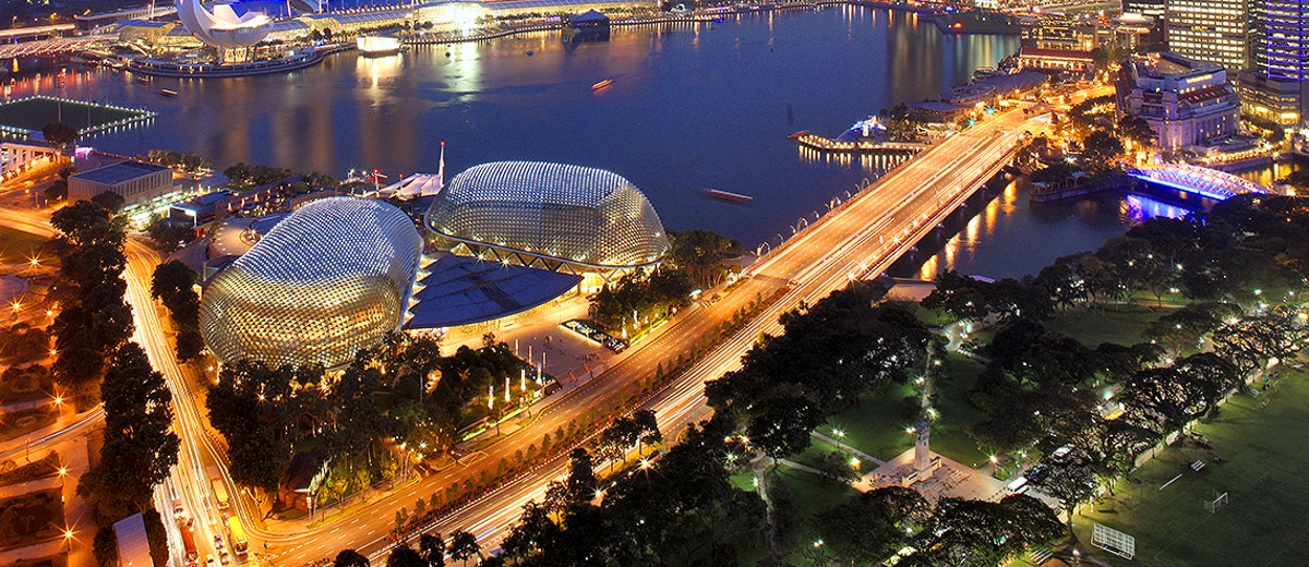 The Esplanade in Singapore at dusk