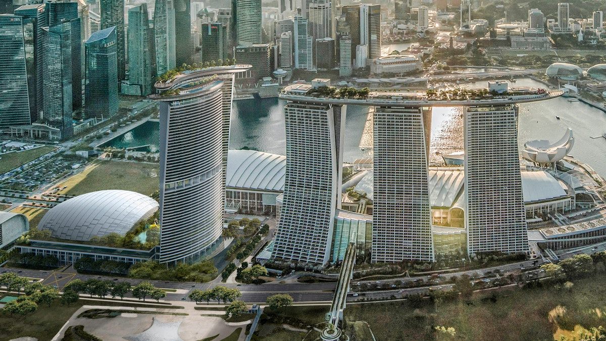 A render of the new project for a 4th tower next to the Marina Bay Sands